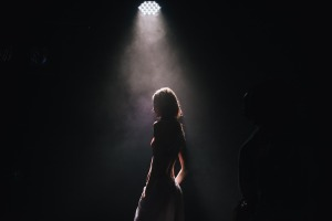 woman in spotlight