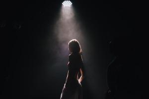 woman in spotlight
