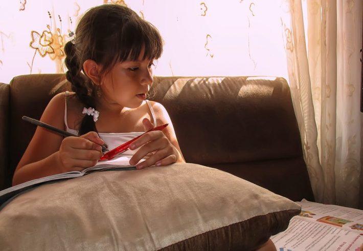 girl studying for exam
